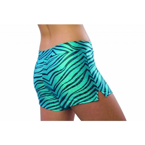 Pizzazz Zebra glitter cheer short turquoise