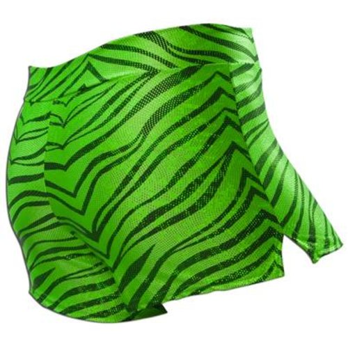 Pizzazz Zebra glitter cheer short lime