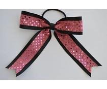 Cheerleader haarstrik glitter roze