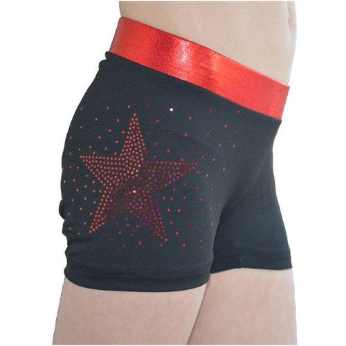 Ervy Dames short glitter ster rood