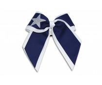 Pizzazz Cheerleader Hairbow wit/donkerblauw