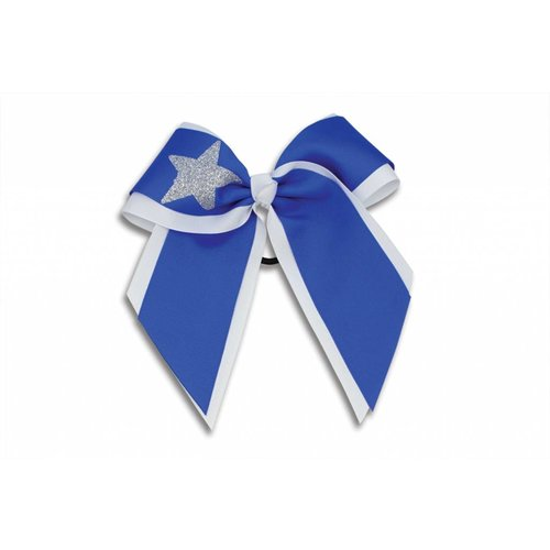 Pizzazz Cheerleader Hairbow wit/blauw