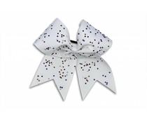 Pizzazz Cheerleader Hairbow wit met strass steentjes