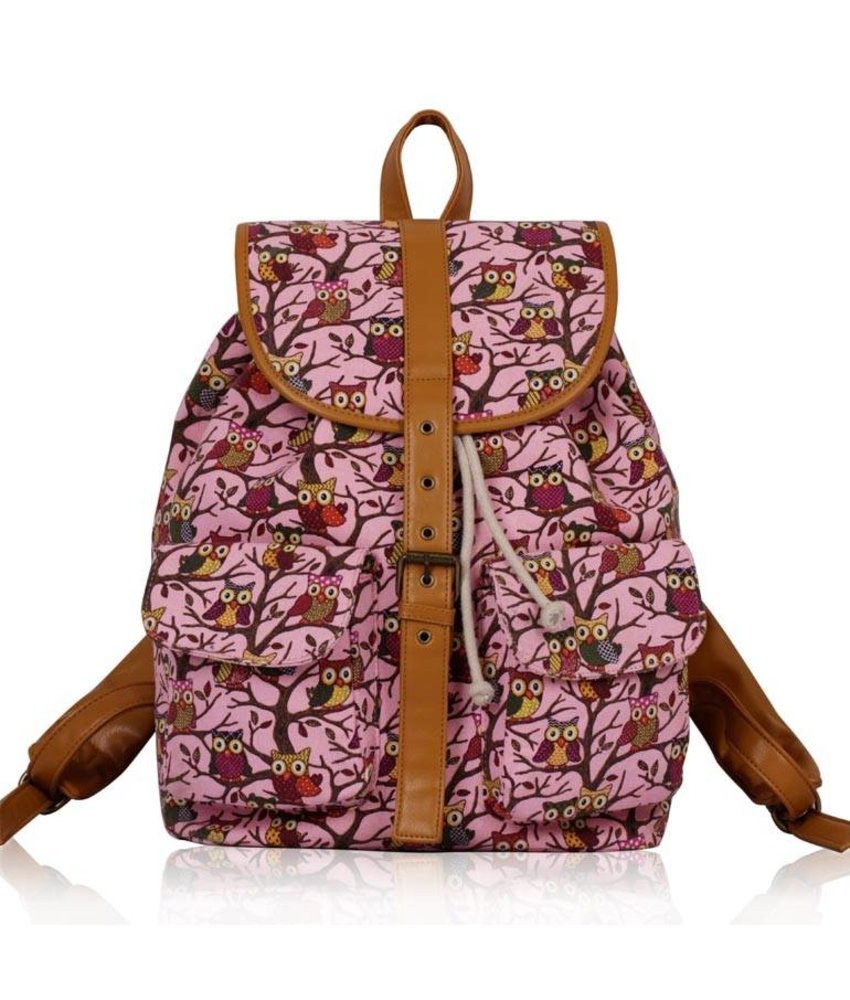 MT Pink Owl Print Backpack