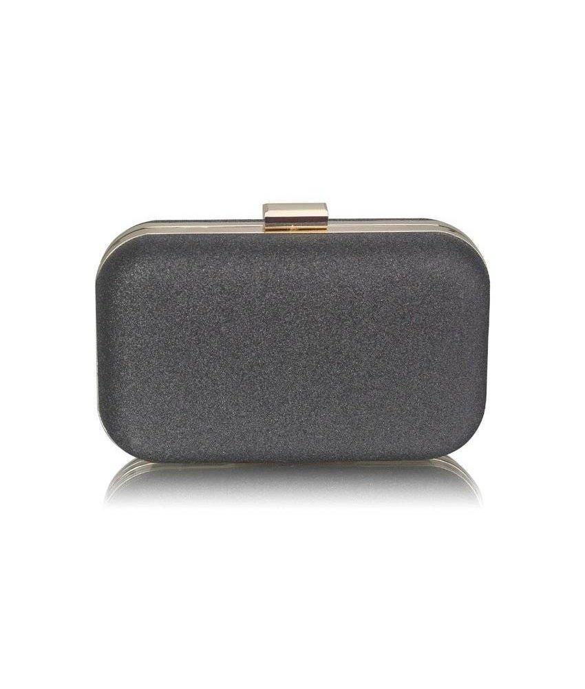 MT Black Glitter Clutch Bag