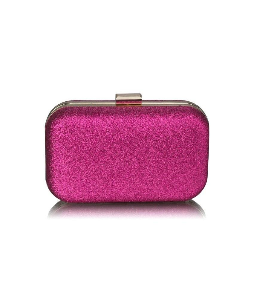 MT Fuchsia Glitter Clutch Bag