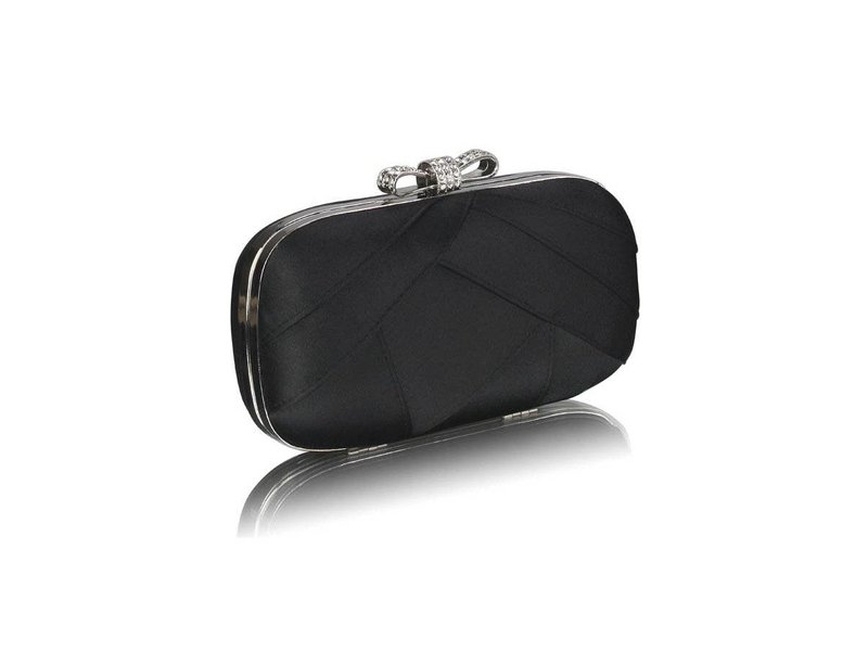 MT Black Satin Clutch Evening Bag