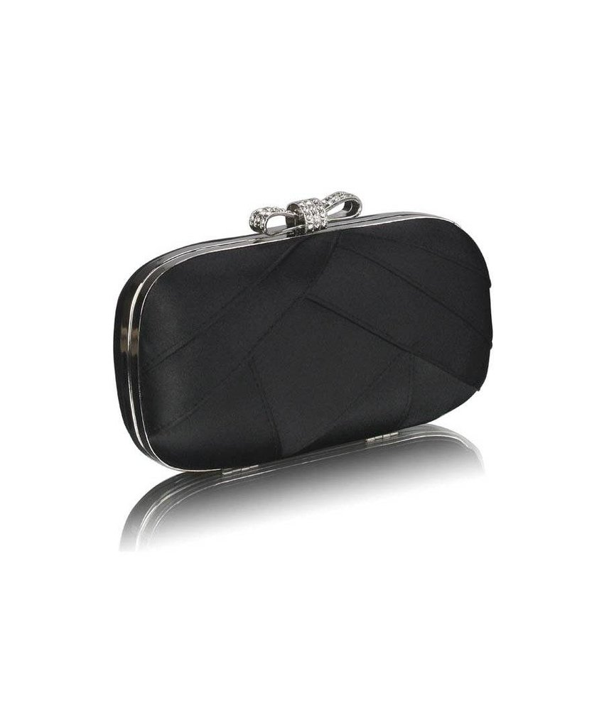 MT Black Satin Clutch Evening Bag