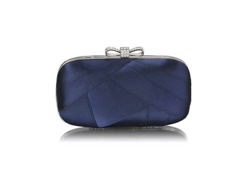 MT Navy Satin Clutch Evening Bag
