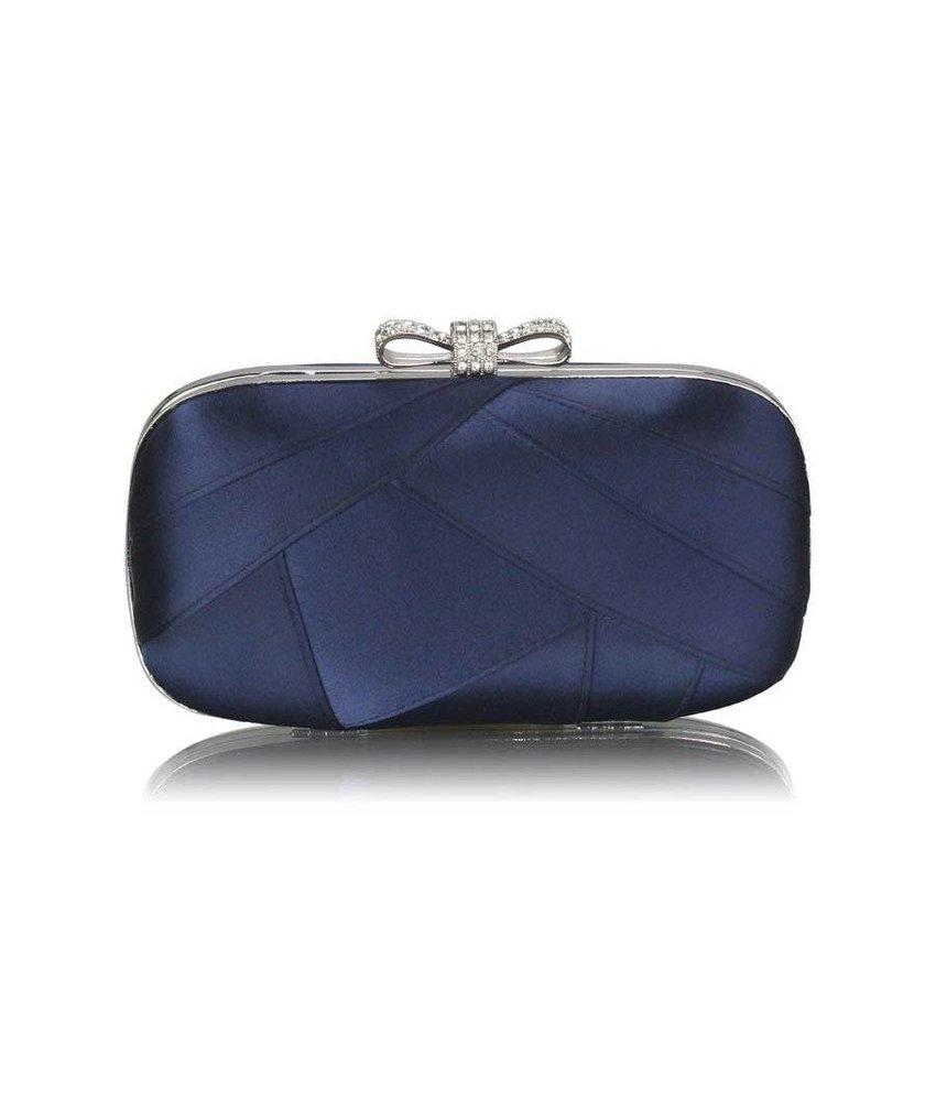MT Navy Satin Clutch Evening Bag