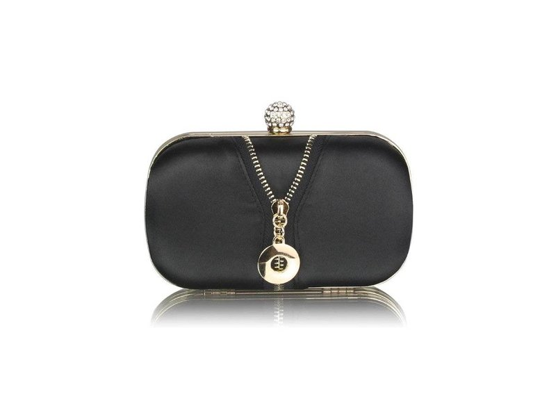 MT Black Satin Clutch With Crystal Decoration