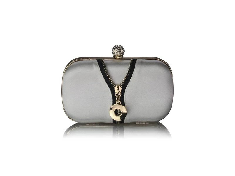 MT Ivory Satin Clutch With Crystal Decoration