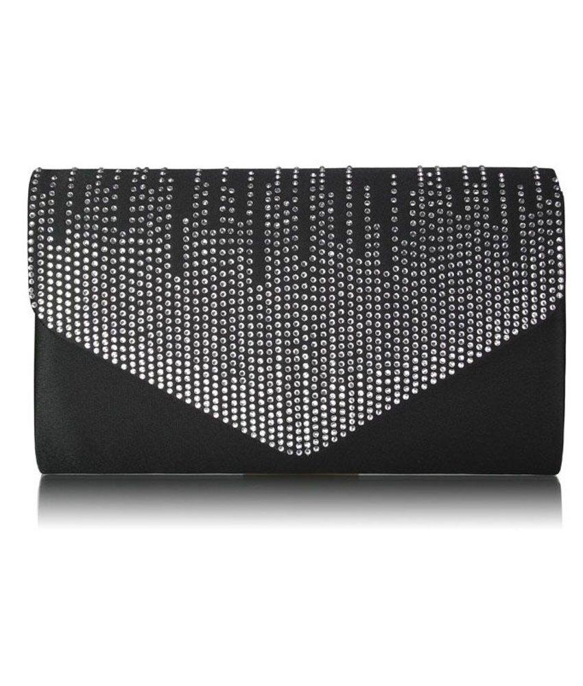 MT Black / Silver Diamante Design Evening Party Flap Over Clutch Bag