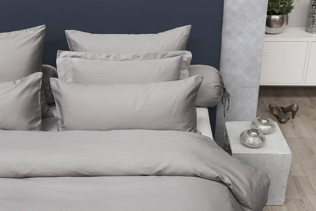 Satijnen dekbedovertrek grijs fine sleep