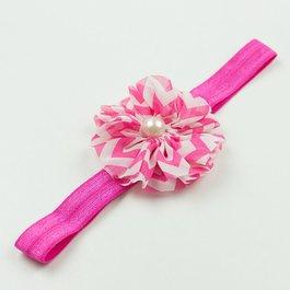 Haarbandje chevron bloem met parel (fuchsia)