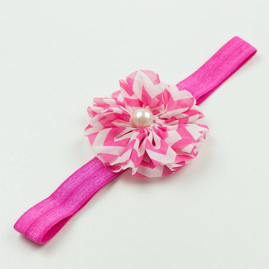 Baby haarbandje chevron bloem met parel (fuchsia)