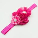 Haarbandje bloemen chiffon/satijn/strass (fuchsia)