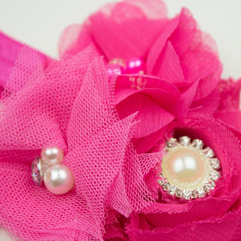 Baby haarbandje chiffon en tulle bloemen (fuchsia)