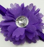Baby haarbandje kleine chiffon bloem (donkerpaars)