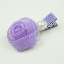 Haarspeldje met chiffon roosje en parel (lila)