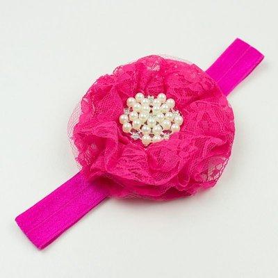 Haarbandje kanten bloem met parels (fuchsia)