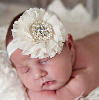 Baby haarbandje grote chiffon bloem (lichtroze)
