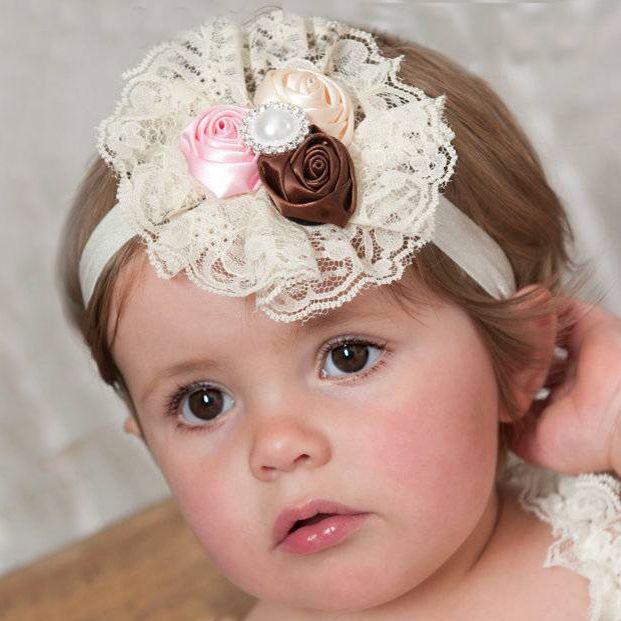 Baby haarbandje met kant (bruin/oudroze/ivoor)