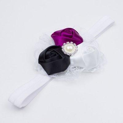Haarbandje met kant (aubergine/zwart/wit)