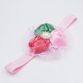 Haarbandje met kant (groen/roze/koraal)