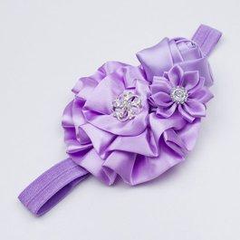 Haarbandje roset/roos/margriet (lila)