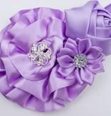 Baby haarbandje met roset/roos/margriet (lila)