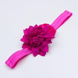 Haarbandje satijnen frutsel bloem (fuchsia)