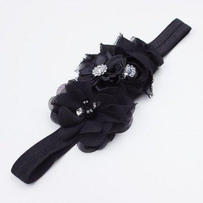 Haarbandje drie bloemen parels/strass zwart
