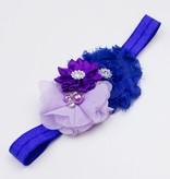 Baby haarbandje drie bloemen met parels en strass paars/blauw/lila