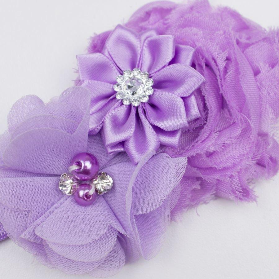 Baby haarbandje drie bloemen met parels en strass lila