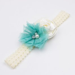 Haarbandje van kant met voile (turquoise/ivoor)
