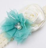 Baby kanten haarbandje met satijnen roos, tule bloem en voile (turquoise/ivoor)