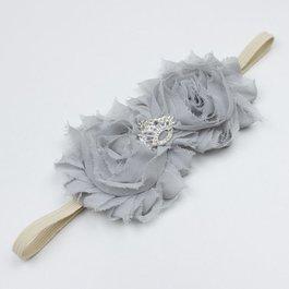 Haarbandje shabby bloemen met kroon (grijs)