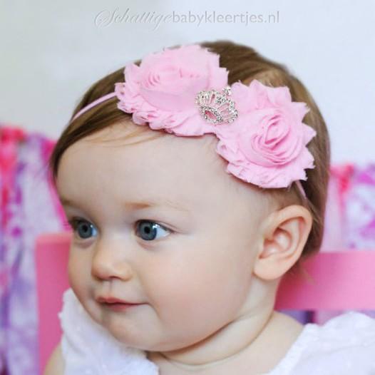 Baby haarbandje met shabby bloemen met kroon (lila)