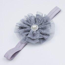 Haarbandje met kant/tule (grijs)