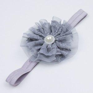 Baby haarbandje met kant/tule (grijs)
