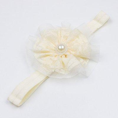 Haarbandje met kant/tule (ivoor)