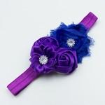 Haarbandje shabby/satijnen bloemen en strass (paars/blauw)