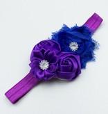 Baby haarbandje shabby/satijnen bloemen en strass paars/blauw