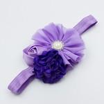 Haarbandje bloemen tulle/satijn/chiffon (paars/lila)