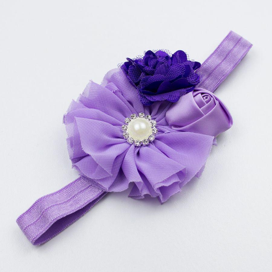 Baby haarbandje bloemen tulle/satijn/chiffon (paars/lila)