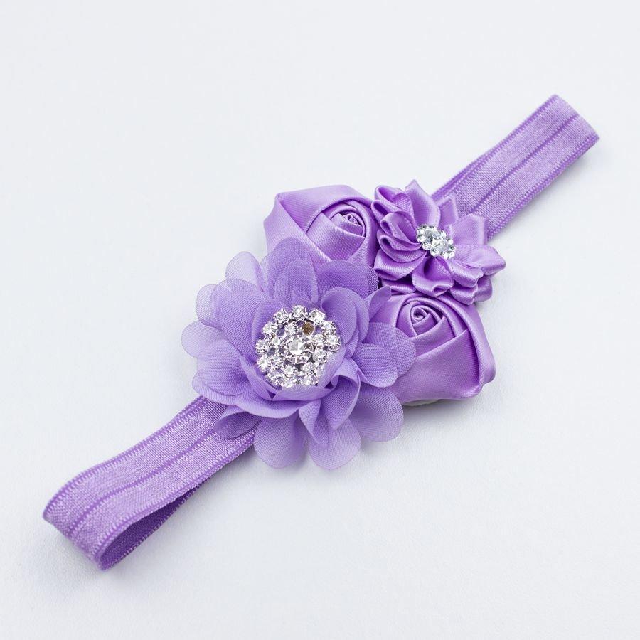 Baby haarbandje satijnen rozen en chiffon bloem (lila)