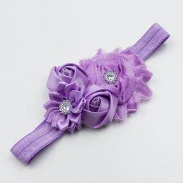 Haarbandje shabby/satijnen bloemen en strass (lila)