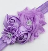 Baby haarbandje shabby/satijnen bloemen en strass lila
