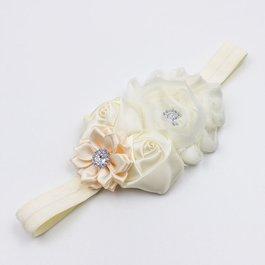 Haarbandje shabby/satijnen bloemen en strass (ivoor)